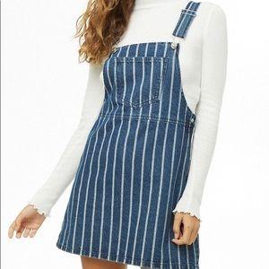 striped mini overall dress